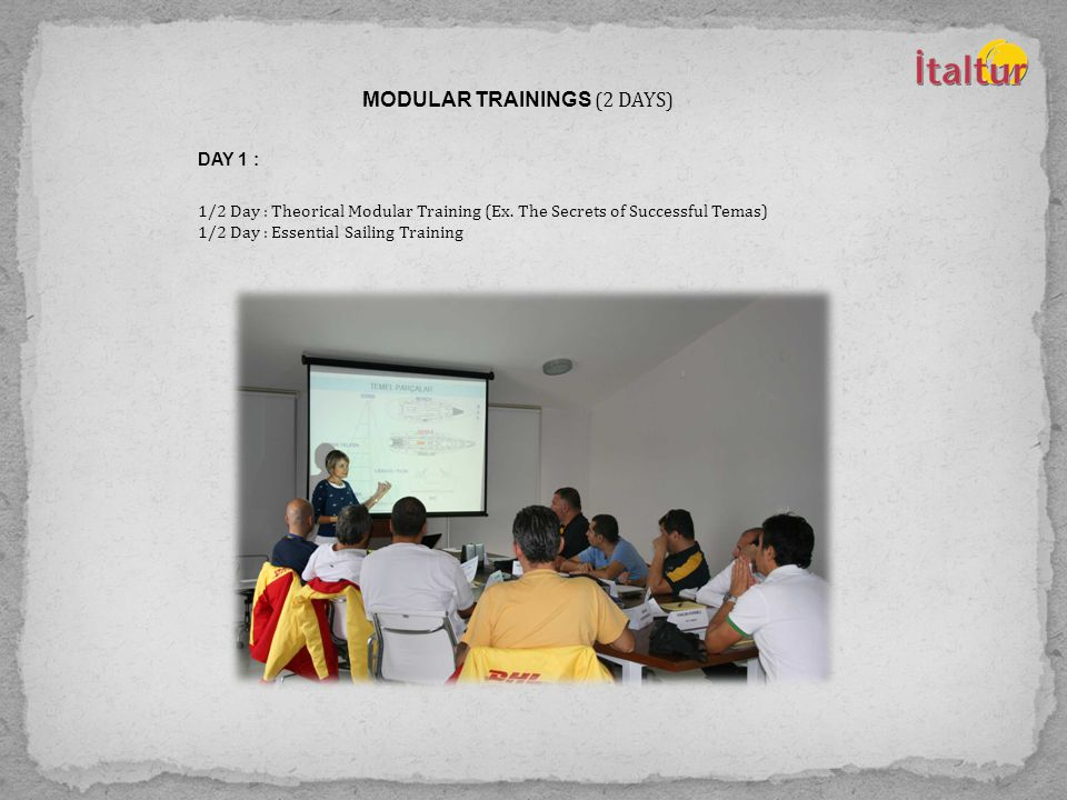 MODULAR TRAININGS (2 DAYS) DAY 1 : 1/2 Day : Theorical Modular Training (Ex.