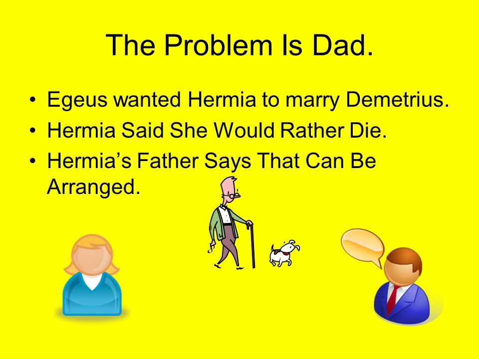 The Problem Is Dad.Egeus wanted Hermia to marry Demetrius.