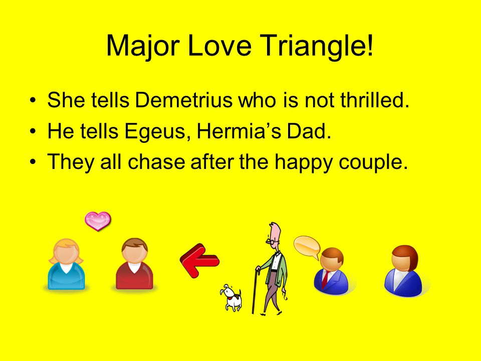 Major Love Triangle.She tells Demetrius who is not thrilled.