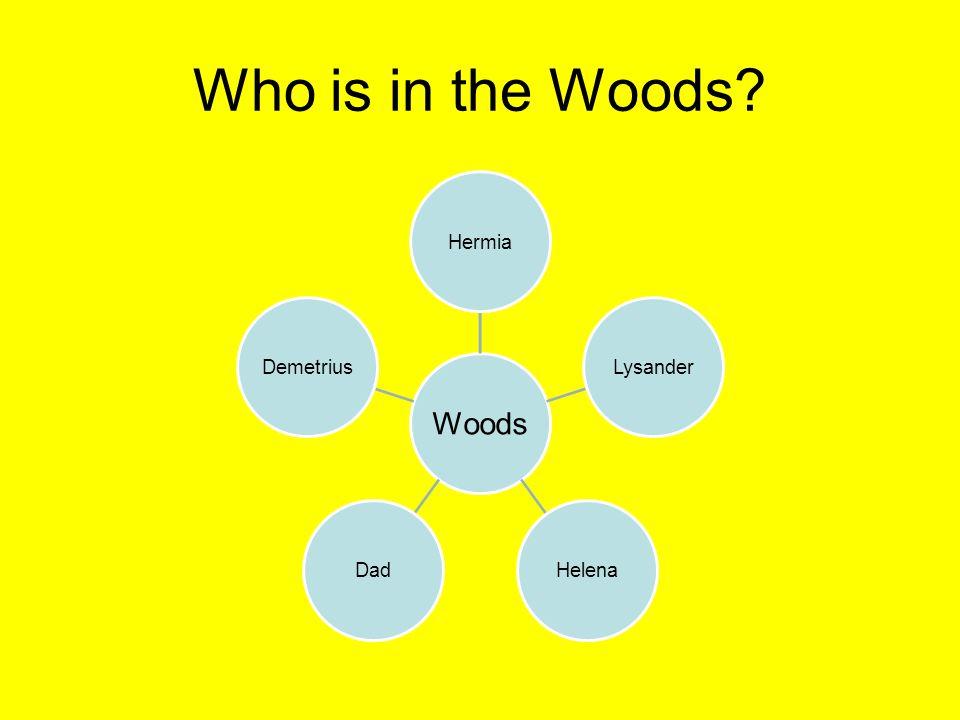 Who is in the Woods? Woods HermiaLysanderHelenaDadDemetrius