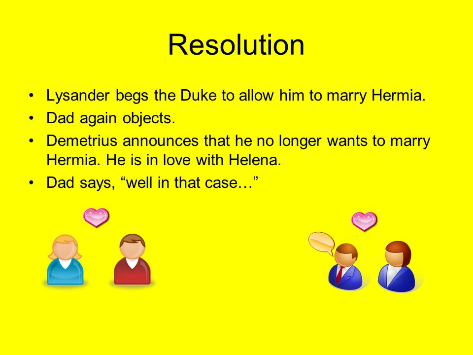Resolution Lysander begs the Duke to allow him to marry Hermia.