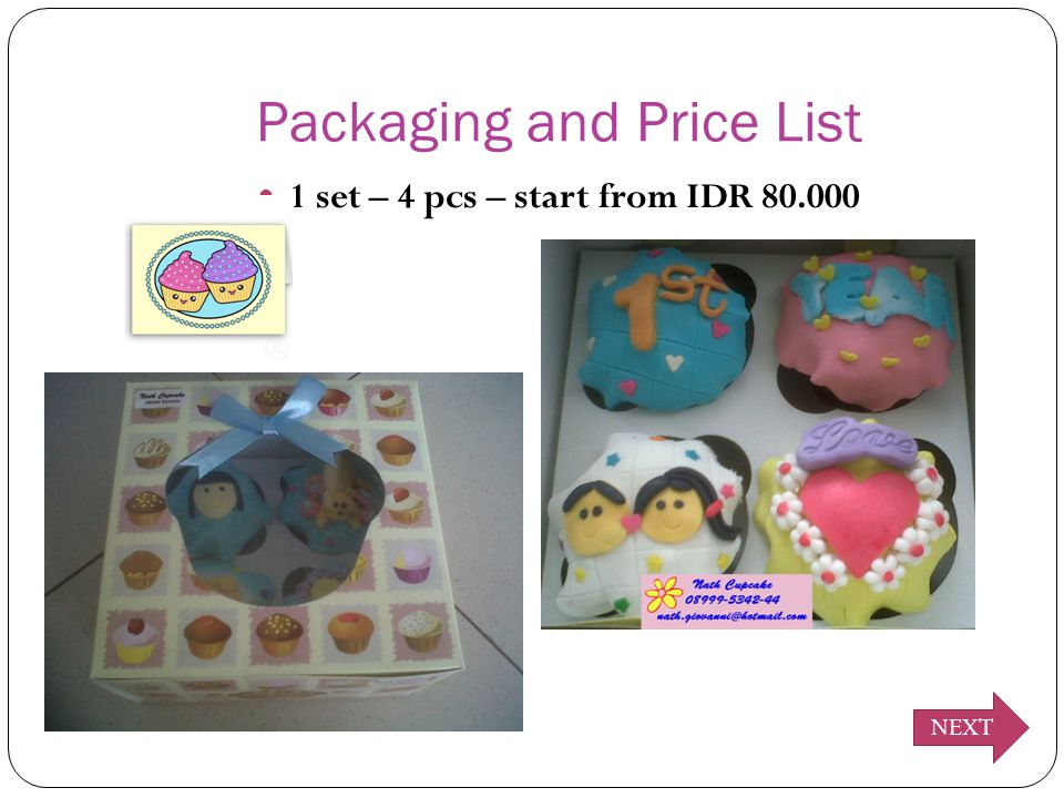 Packaging and Price List 1 set – 4 pcs – start from IDR 80.000 NEXT
