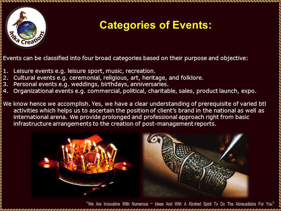 Categories of Events: Events can be classified into four broad categories based on their purpose and objective: 1.Leisure events e.g.