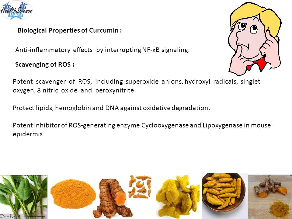11 Biological Properties of Curcumin : Anti-inflammatory effects by interrupting NF-κB signaling. Scavenging of ROS : Potent scavenger of ROS, includi