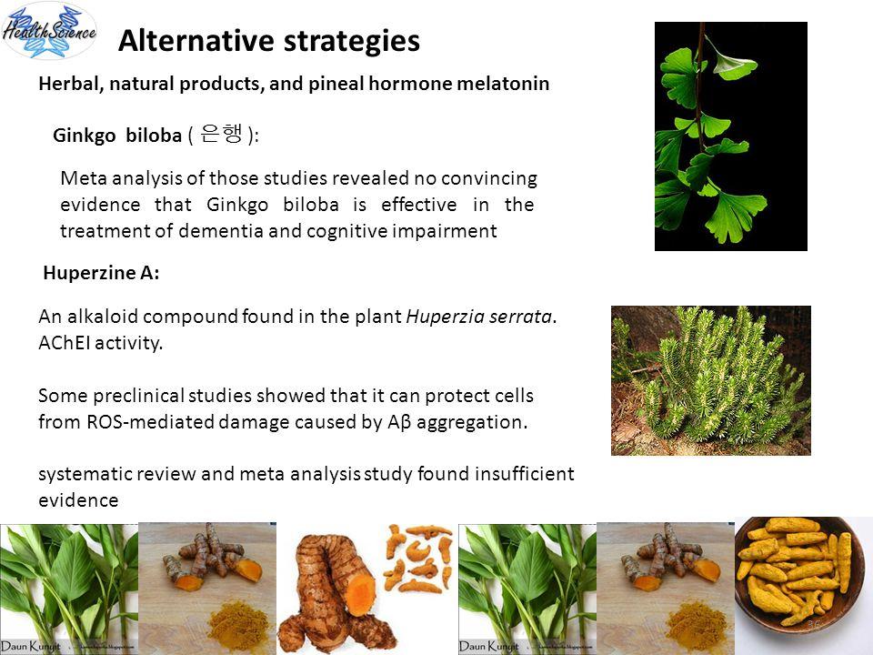 36 Alternative strategies Herbal, natural products, and pineal hormone melatonin Ginkgo biloba ( ): Meta analysis of those studies revealed no convinc