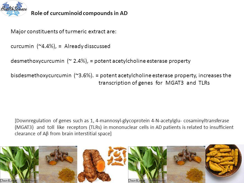 47 Role of curcuminoid compounds in AD Major constituents of turmeric extract are: curcumin (~4.4%), = Already disscussed desmethoxycurcumin (~ 2.4%),