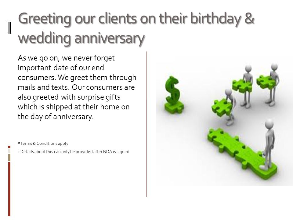 Greeting our clients on their birthday & wedding anniversary As we go on, we never forget important date of our end consumers. We greet them through m
