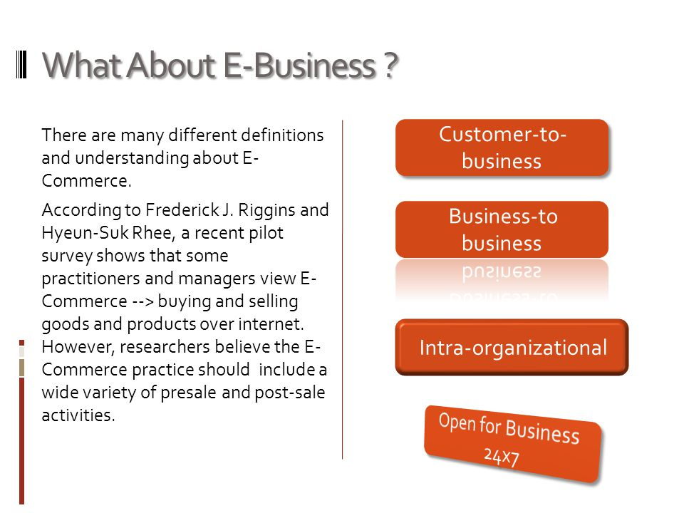 What About E-Business . There are many different definitions and understanding about E- Commerce.
