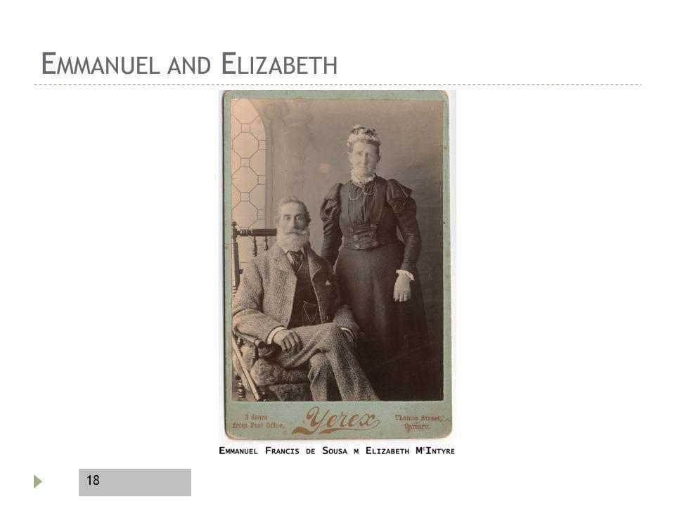 18 E MMANUEL AND E LIZABETH