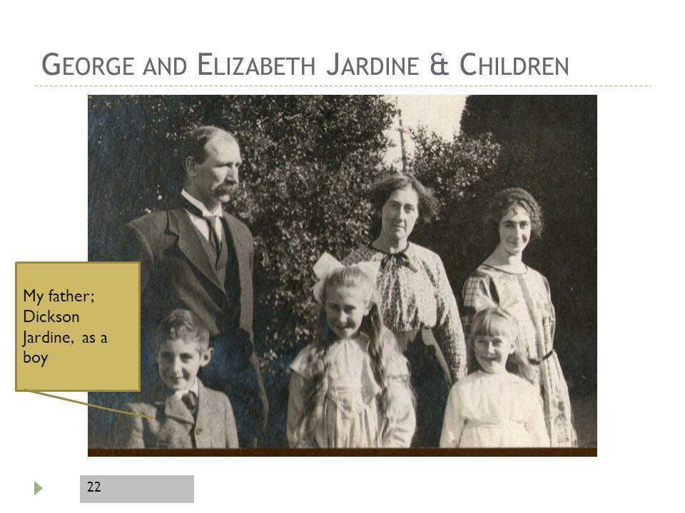 22 G EORGE AND E LIZABETH J ARDINE & C HILDREN My father; Dickson Jardine, as a boy