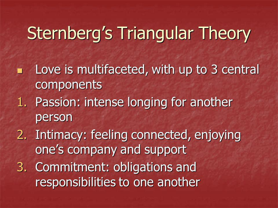 Sternbergs Triangular Theory Love is multifaceted, with up to 3 central components Love is multifaceted, with up to 3 central components 1.Passion: intense longing for another person 2.Intimacy: feeling connected, enjoying ones company and support 3.Commitment: obligations and responsibilities to one another