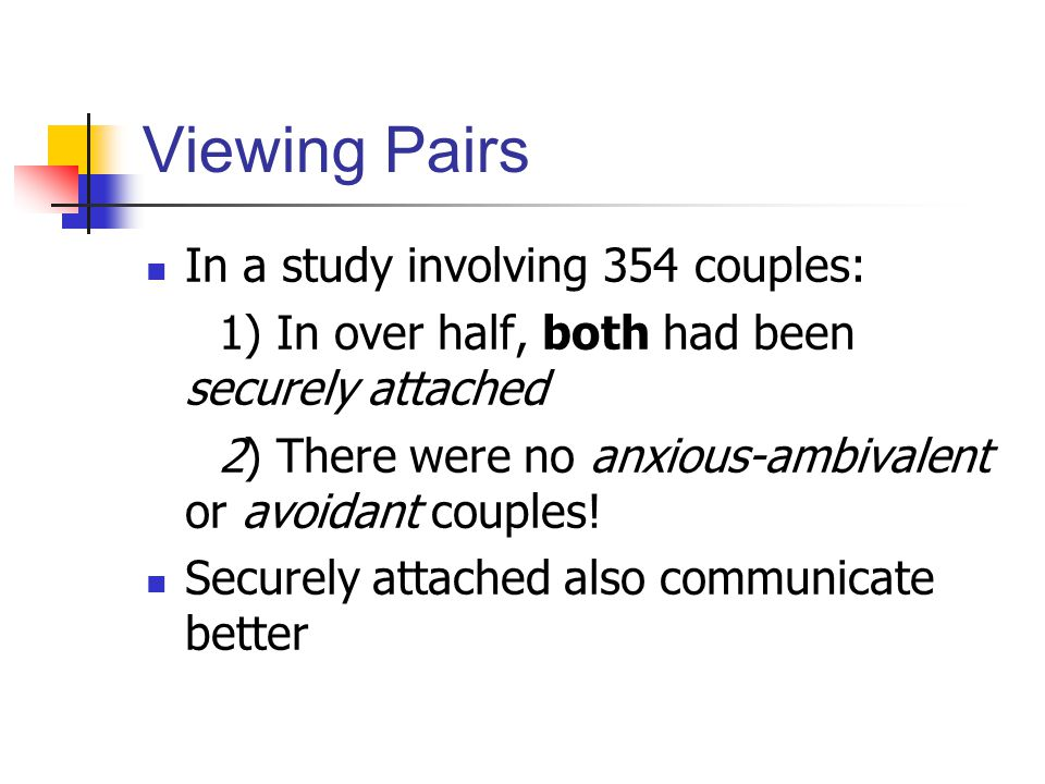 Viewing Pairs In a study involving 354 couples: 1) In over half, both had been securely attached 2) There were no anxious-ambivalent or avoidant couples.