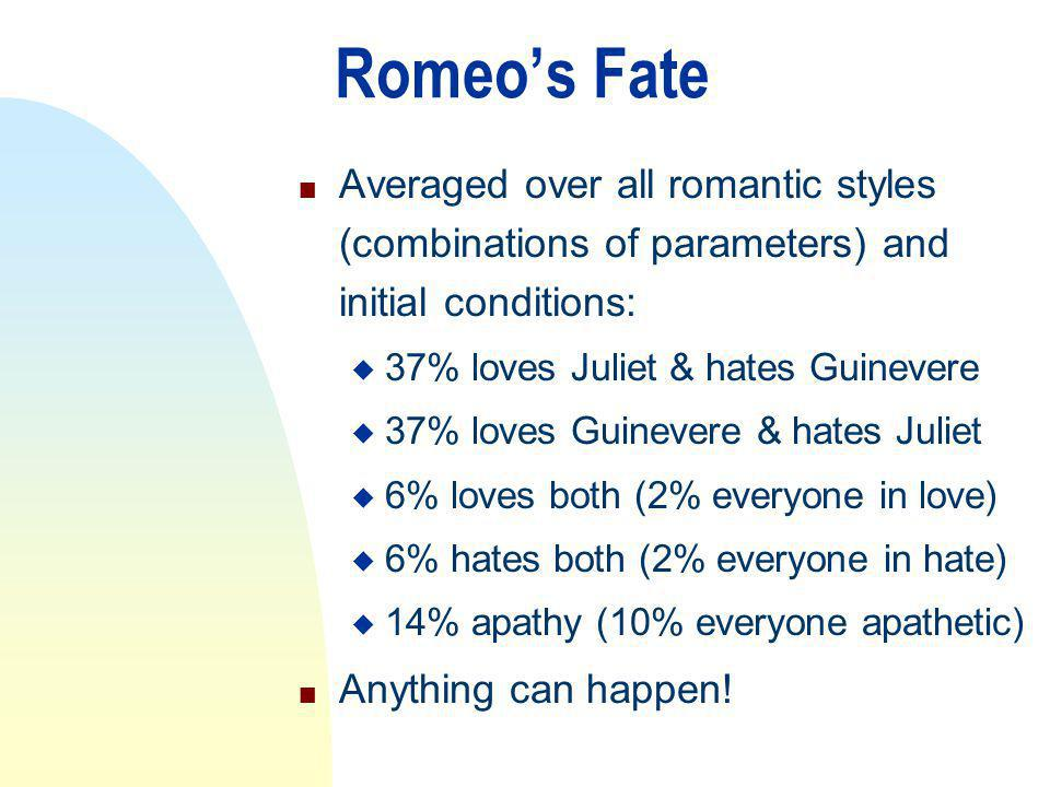 Romeos Fate n Averaged over all romantic styles (combinations of parameters) and initial conditions: u 37% loves Juliet & hates Guinevere u 37% loves Guinevere & hates Juliet u 6% loves both (2% everyone in love) u 6% hates both (2% everyone in hate) u 14% apathy (10% everyone apathetic) n Anything can happen!