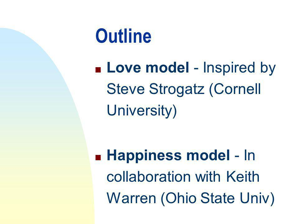 Outline n Love model - Inspired by Steve Strogatz (Cornell University) n Happiness model - In collaboration with Keith Warren (Ohio State Univ)