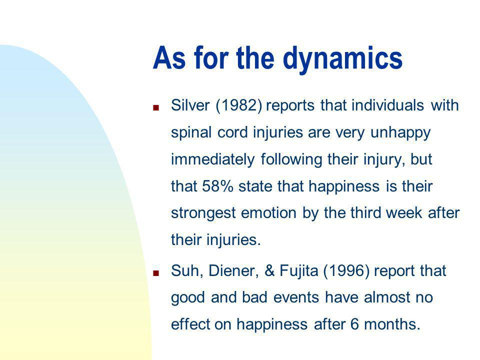 As for the dynamics n Silver (1982) reports that individuals with spinal cord injuries are very unhappy immediately following their injury, but that 58% state that happiness is their strongest emotion by the third week after their injuries.