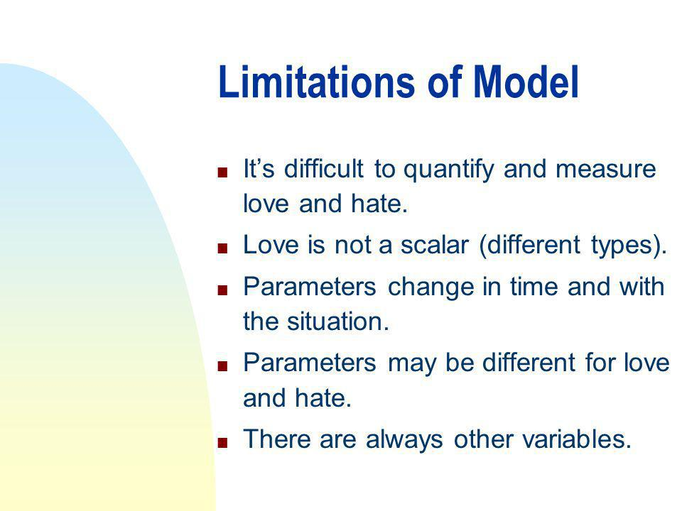 Limitations of Model n Its difficult to quantify and measure love and hate.