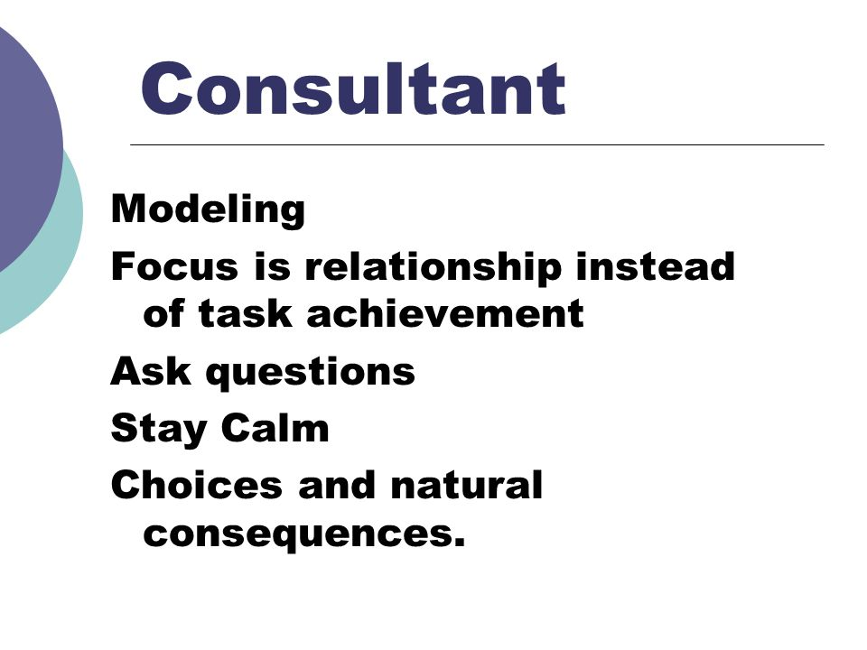 Consultant Modeling Focus is relationship instead of task achievement Ask questions Stay Calm Choices and natural consequences.
