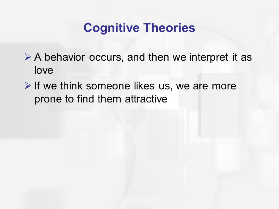 Cognitive Theories A behavior occurs, and then we interpret it as love If we think someone likes us, we are more prone to find them attractive