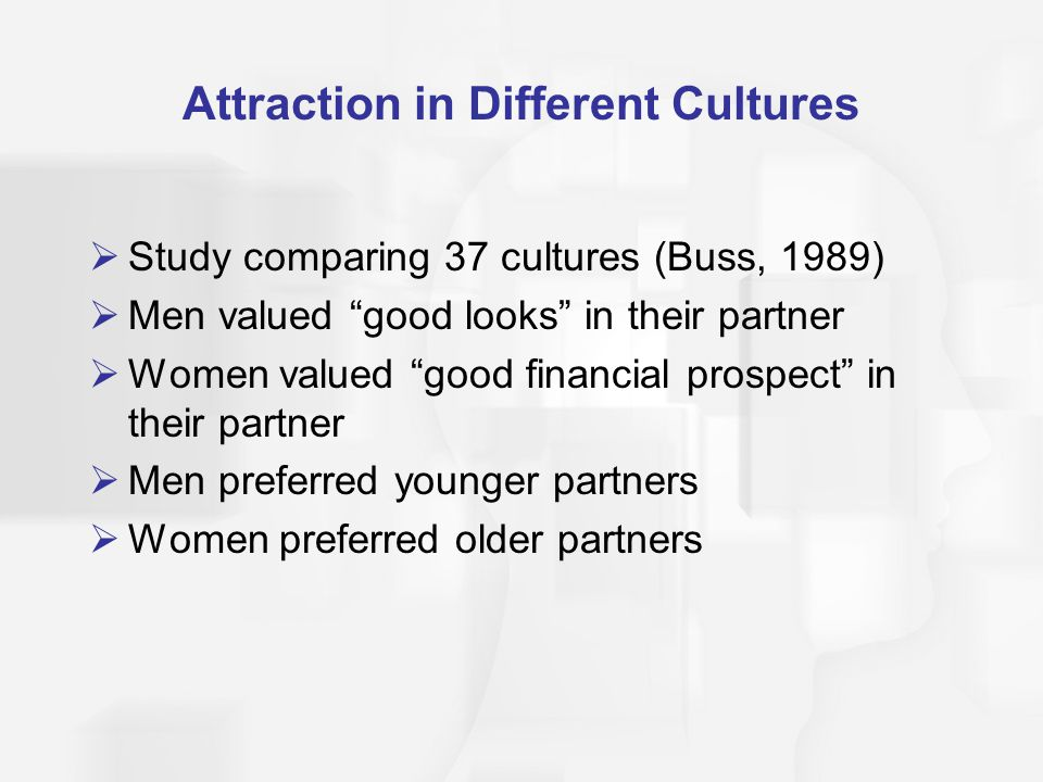 Attraction in Different Cultures Study comparing 37 cultures (Buss, 1989) Men valued good looks in their partner Women valued good financial prospect in their partner Men preferred younger partners Women preferred older partners