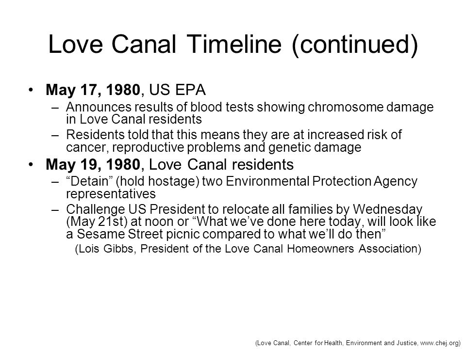 Love Canal Timeline (continued) May 17, 1980, US EPA –Announces results of blood tests showing chromosome damage in Love Canal residents –Residents to