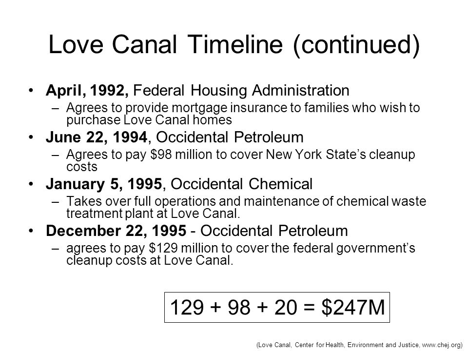 Love Canal Timeline (continued) April, 1992, Federal Housing Administration –Agrees to provide mortgage insurance to families who wish to purchase Lov