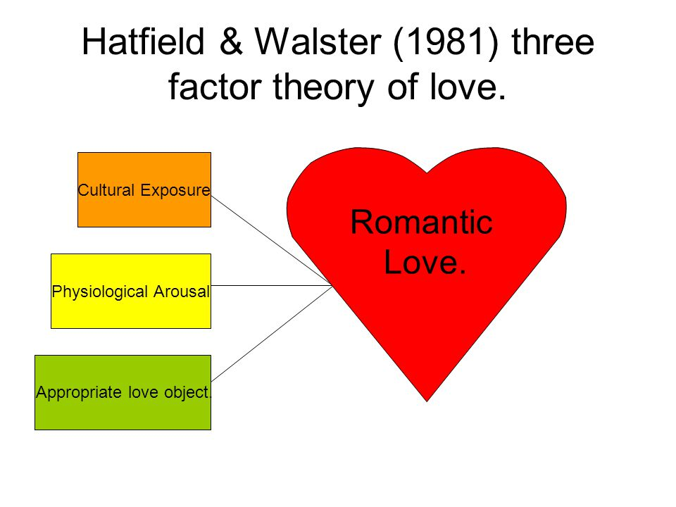 Hatfield & Walster (1981) three factor theory of love. Physiological Arousal Appropriate love object. Romantic Love. Cultural Exposure