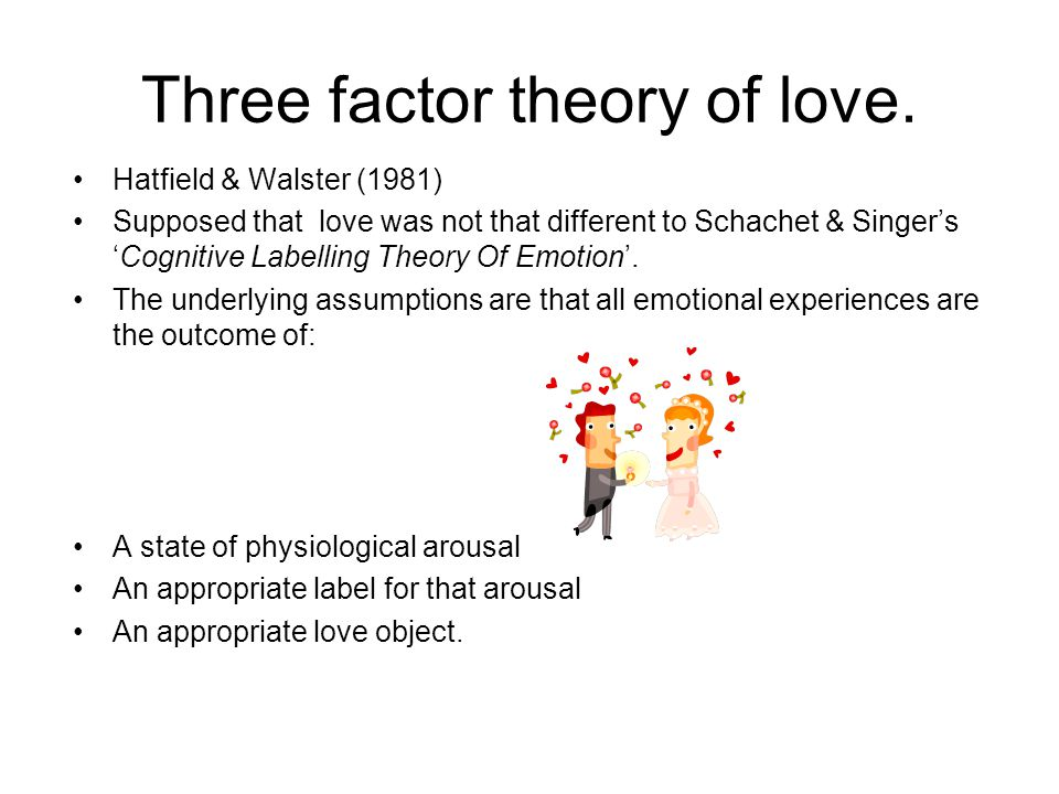 Three factor theory of love. Hatfield & Walster (1981) Supposed that love was not that different to Schachet & SingersCognitive Labelling Theory Of Em