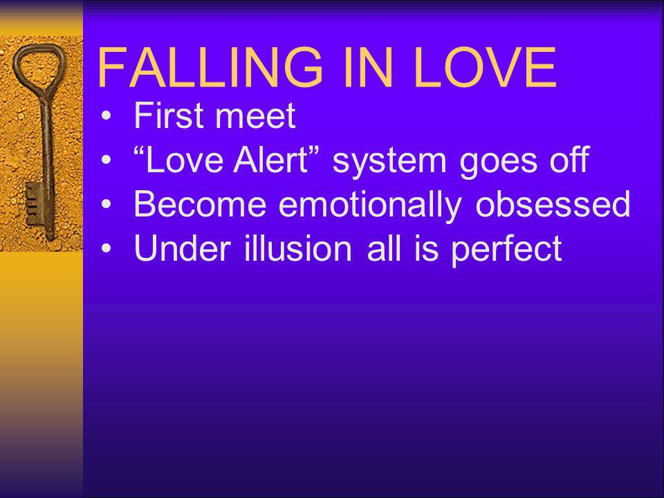 FALLING IN LOVE First meet Love Alert system goes off Become emotionally obsessed Under illusion all is perfect