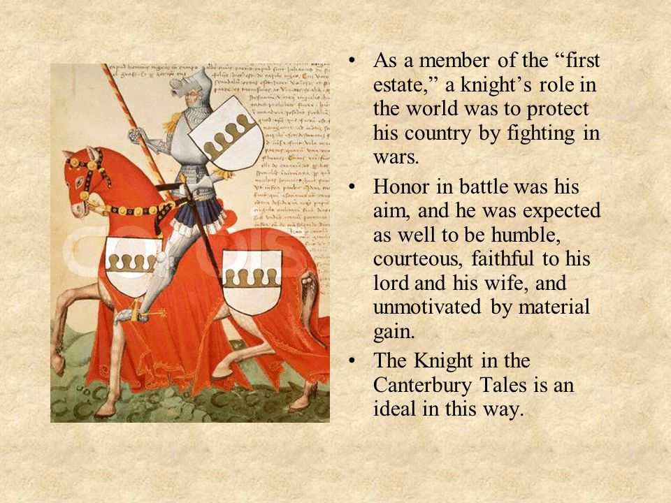 As a member of the first estate, a knights role in the world was to protect his country by fighting in wars.