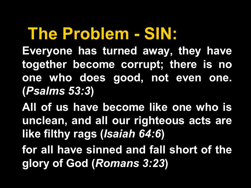 The Problem - SIN: Everyone has turned away, they have together become corrupt; there is no one who does good, not even one.