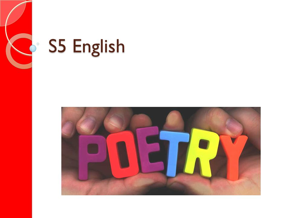 Good Morning S5.In todays lesson we will... Revise poetic techniques.