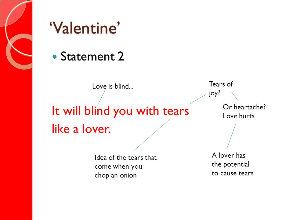 Valentine Statement 2 It will blind you with tears like a lover. Tears of joy? Or heartache? Love hurts Idea of the tears that come when you chop an o