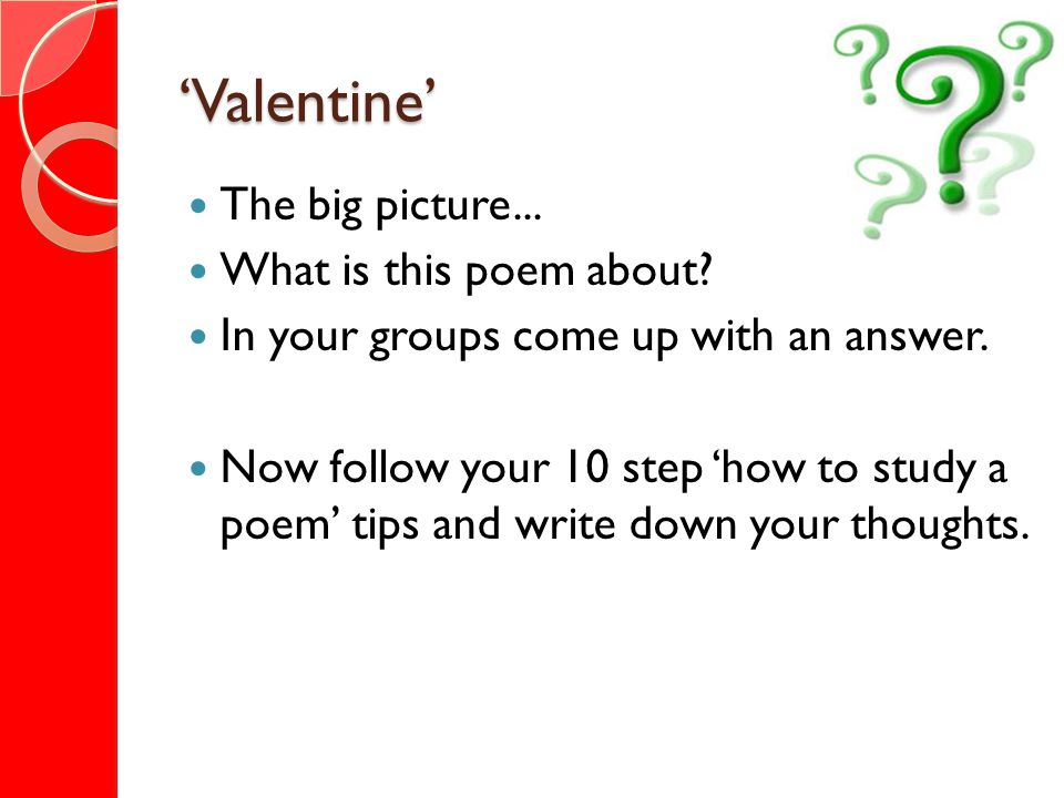 Valentine What is the poem about.