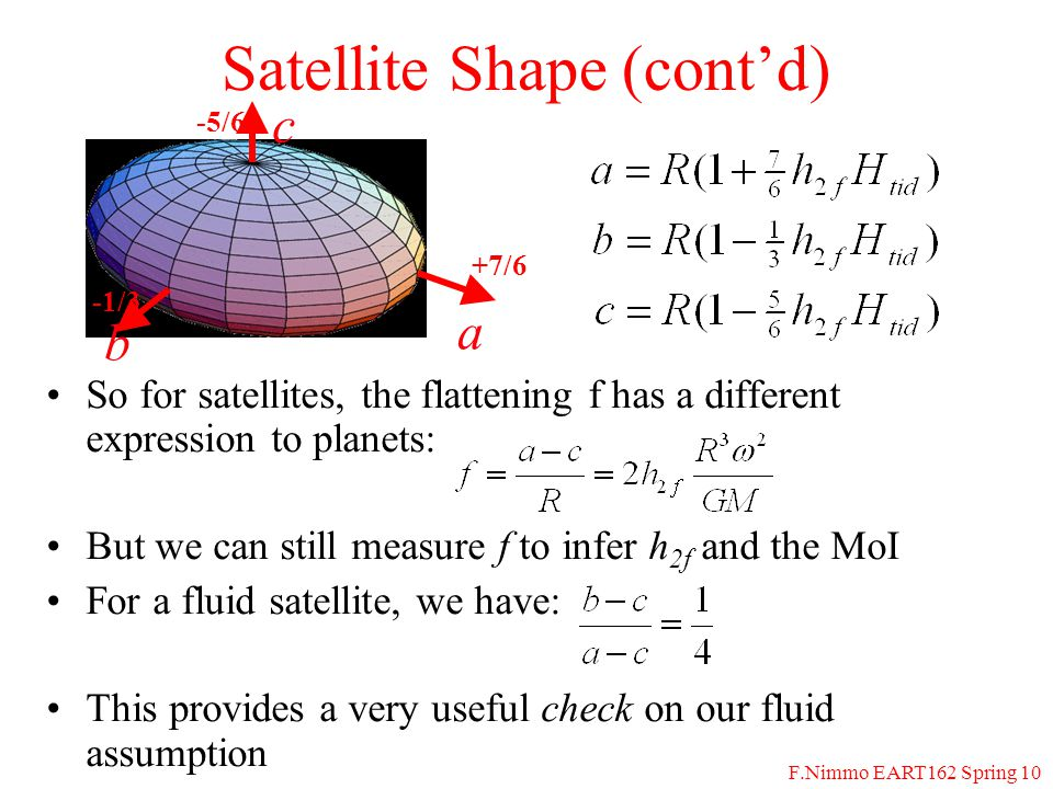 F.Nimmo EART162 Spring 10 Satellite Shape (contd) So for satellites, the flattening f has a different expression to planets: But we can still measure