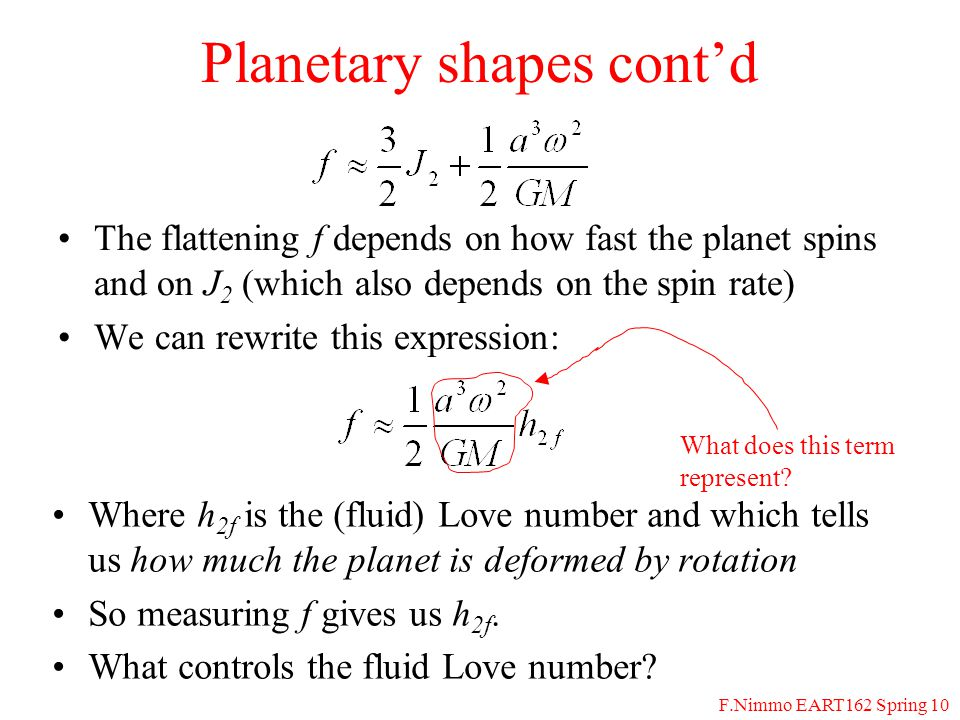 F.Nimmo EART162 Spring 10 Satellite Shape Tidal Effect (prolate) Rotational Effect (oblate) Planet +1/2 +1 -1/2 c a (Planet) b -5/6 +7/6 c a b c -1/3 Dimensions are in units of h 2f H tid a