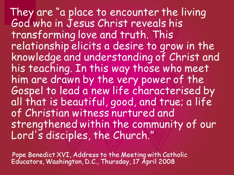They are a place to encounter the living God who in Jesus Christ reveals his transforming love and truth. This relationship elicits a desire to grow i