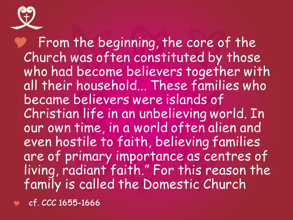 From the beginning, the core of the Church was often constituted by those who had become believers together with all their household...