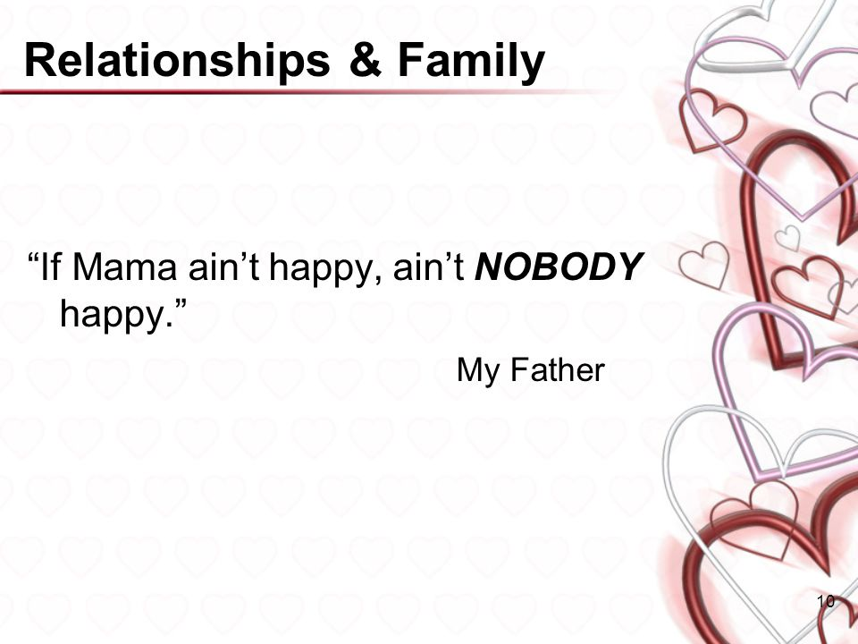 Relationships & Family If Mama aint happy, aint NOBODY happy. My Father 10