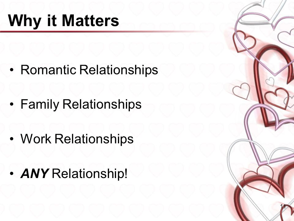 Why it Matters Romantic Relationships Family Relationships Work Relationships ANY Relationship! 11