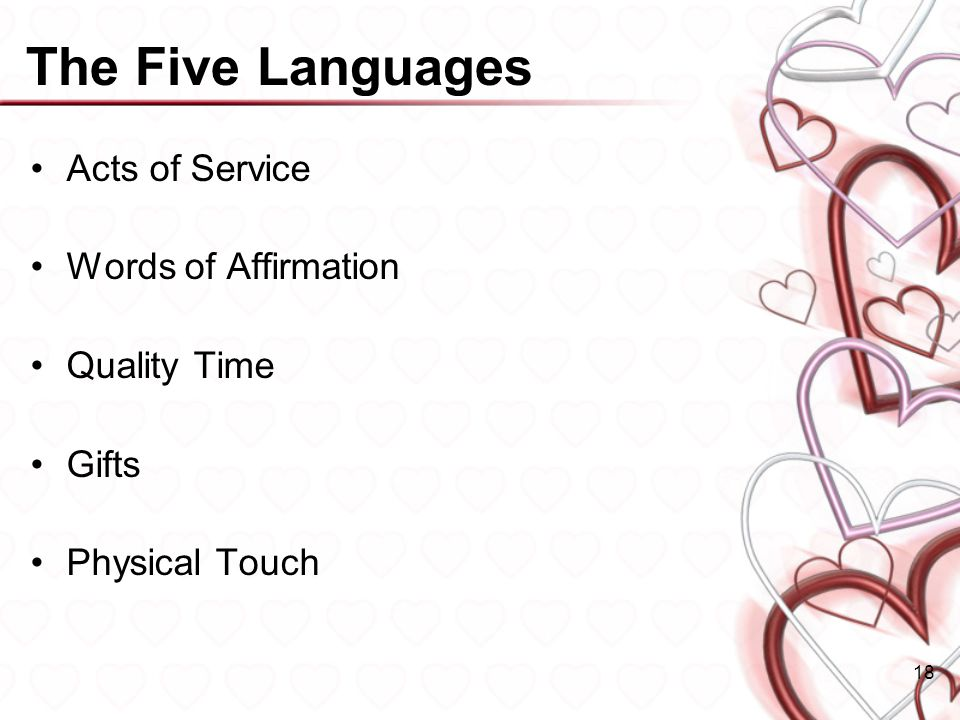 The Five Languages Acts of Service Words of Affirmation Quality Time Gifts Physical Touch 18