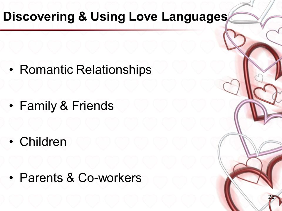 Discovering & Using Love Languages Romantic Relationships Family & Friends Children Parents & Co-workers 25