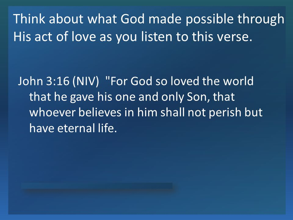 God Loves You What facts does this verse tell us about God.
