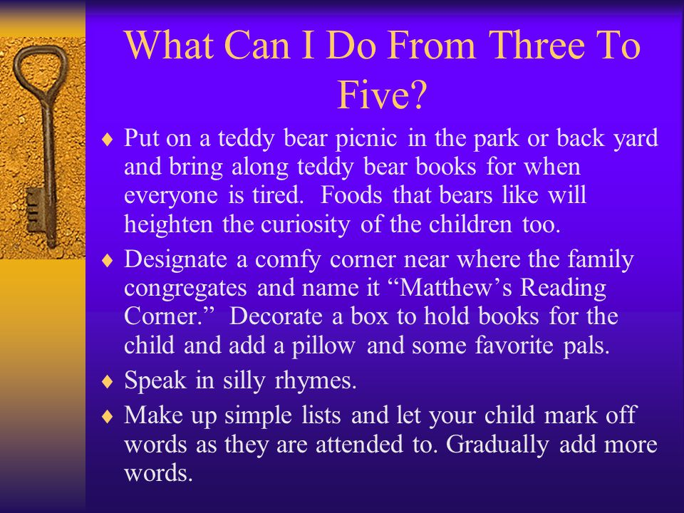 What Can I Do From Three To Five.