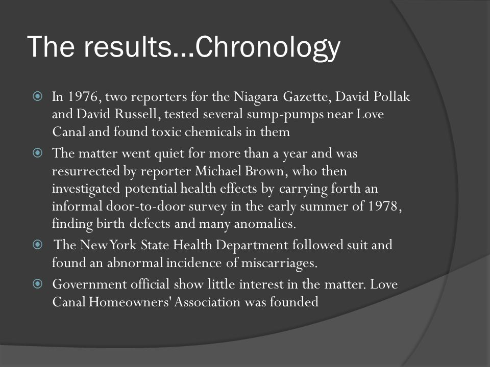 The results…Chronology In 1976, two reporters for the Niagara Gazette, David Pollak and David Russell, tested several sump-pumps near Love Canal and f