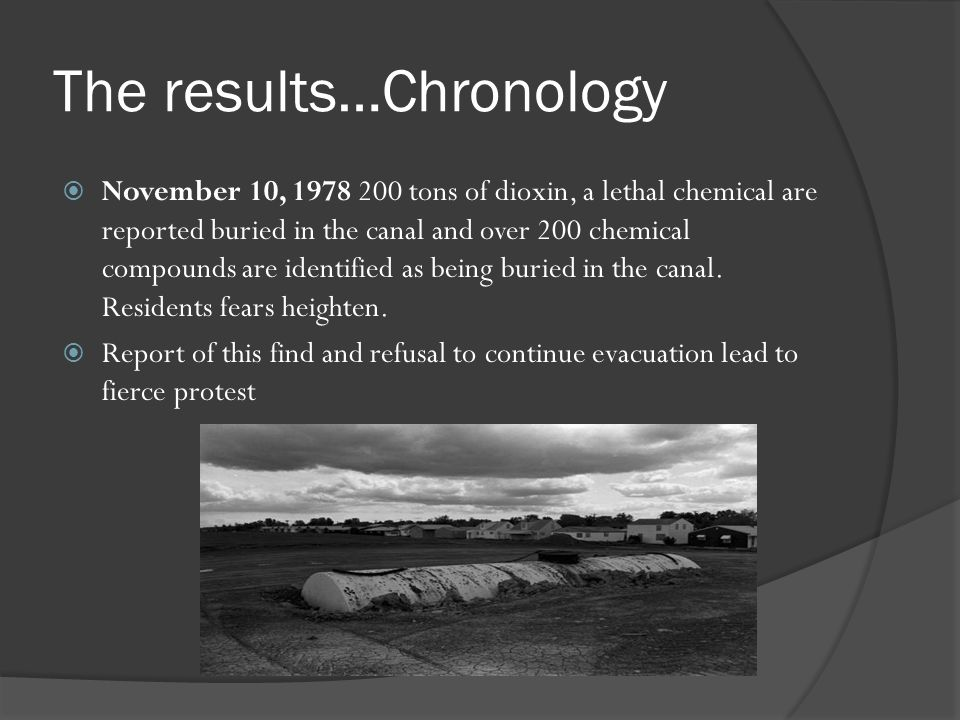 The results…Chronology November 10, 1978 200 tons of dioxin, a lethal chemical are reported buried in the canal and over 200 chemical compounds are id