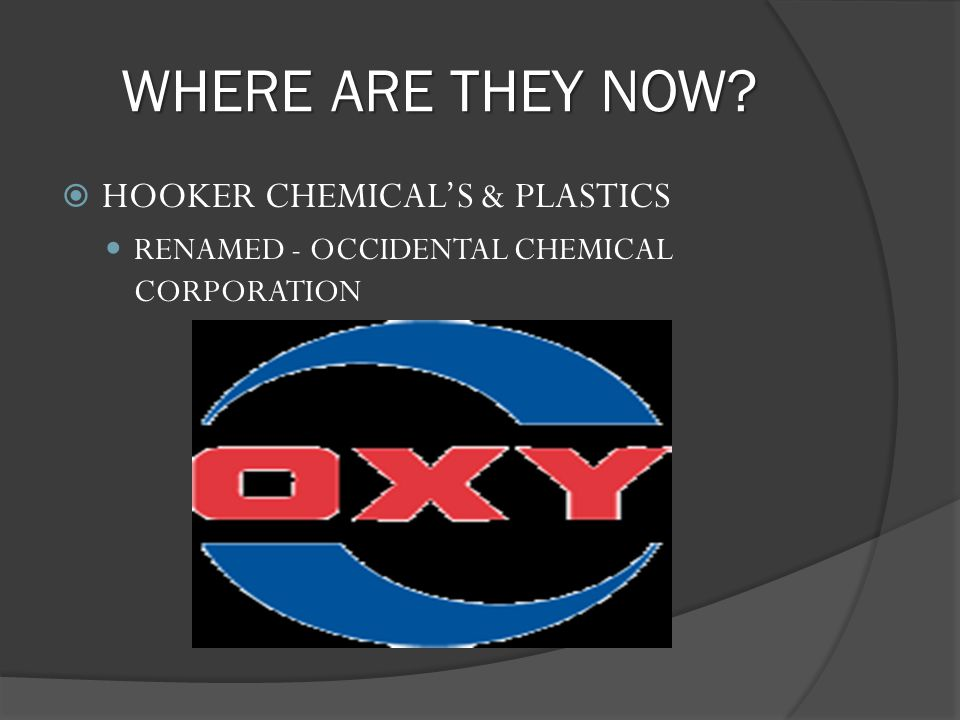 WHERE ARE THEY NOW? HOOKER CHEMICALS & PLASTICS RENAMED - OCCIDENTAL CHEMICAL CORPORATION