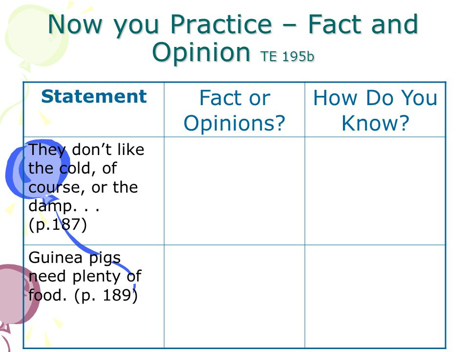 Now you Practice – Fact and Opinion TE 195b Statement Fact or Opinions.