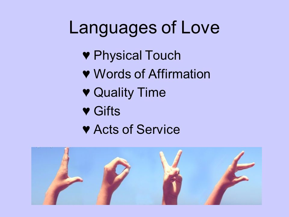 Languages of Love Physical Touch Words of Affirmation Quality Time Gifts Acts of Service