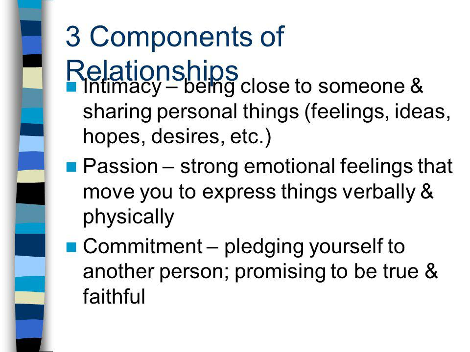 3 Components of Relationships Intimacy – being close to someone & sharing personal things (feelings, ideas, hopes, desires, etc.) Passion – strong emotional feelings that move you to express things verbally & physically Commitment – pledging yourself to another person; promising to be true & faithful