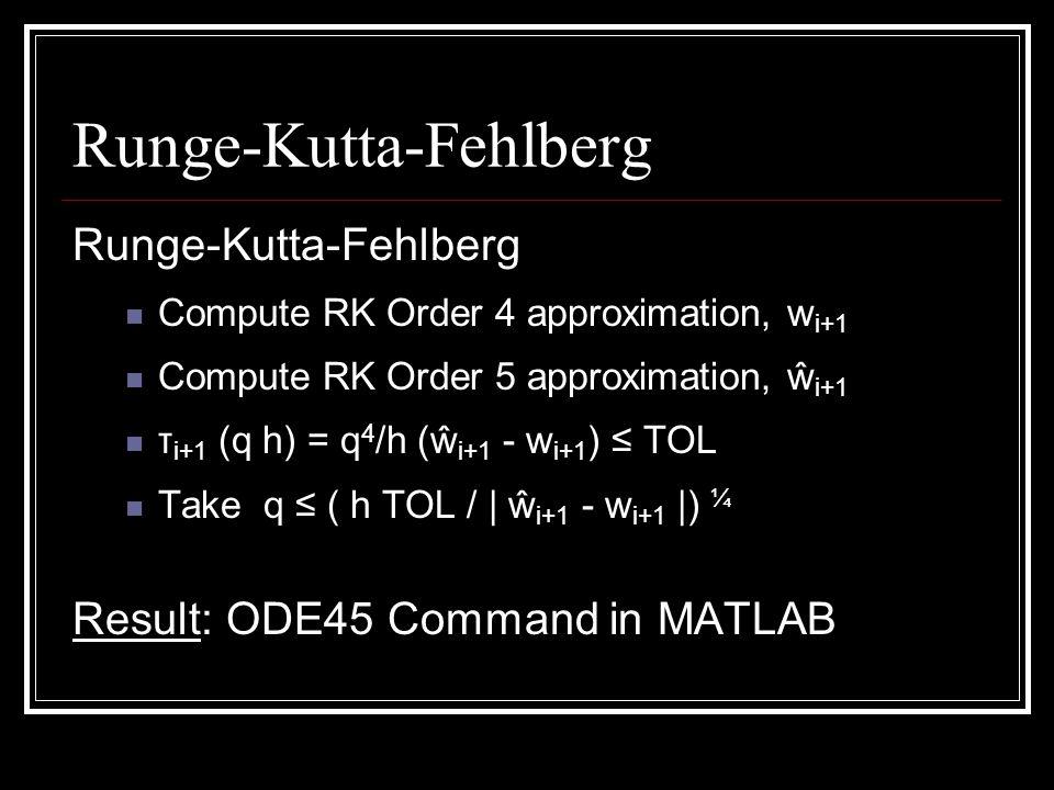 Runge-Kutta-Fehlberg Compute RK Order 4 approximation, w i+1 Compute RK Order 5 approximation, ŵ i+1 τ i+1 (q h) = q 4 /h (ŵ i+1 - w i+1 ) TOL Take q ( h TOL / | ŵ i+1 - w i+1 |) ¼ Result: ODE45 Command in MATLAB